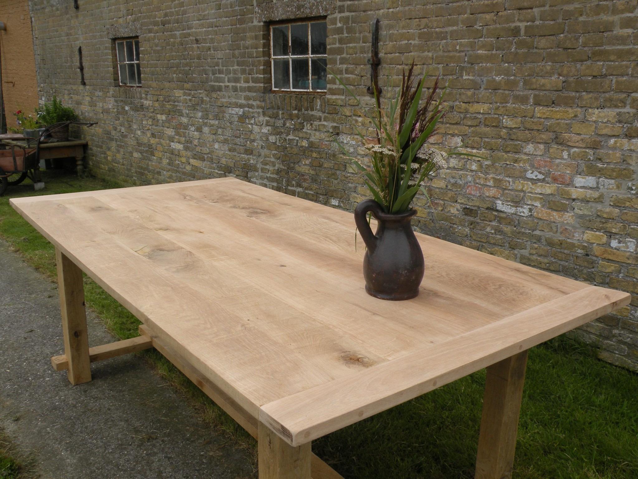 Eiken tafel met of zonder stootrand  u2013 Sietse Ronner  u2013 scheepstimmerwerk, landelijk bouwen en meubels